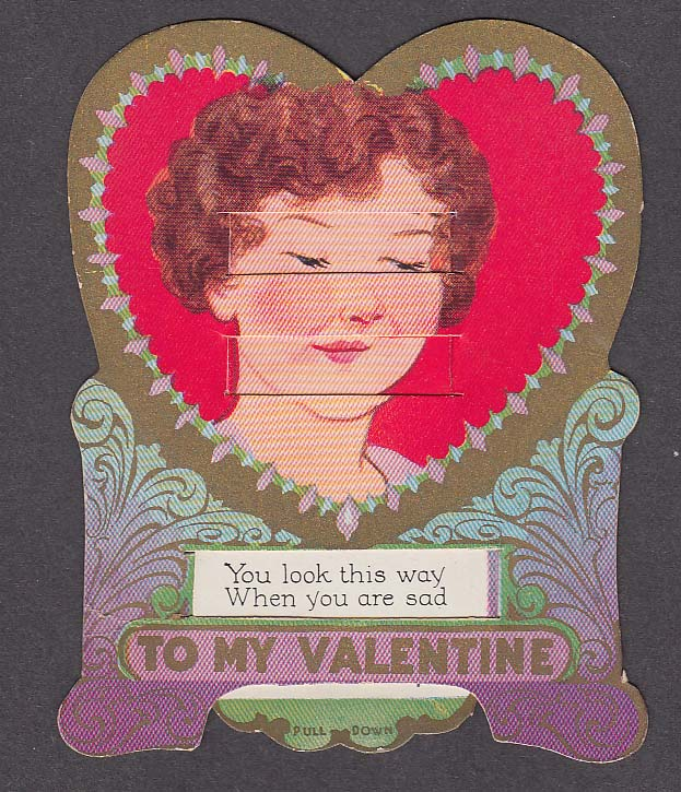 Image for Sad & Gay Lady's Face mechanical Valentine card 1930s