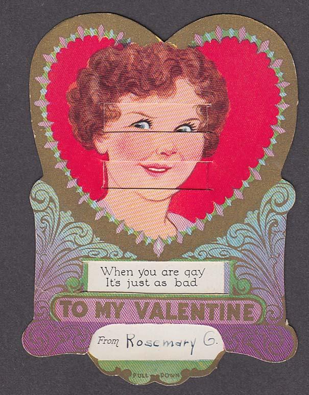 Sad & Gay Lady's Face mechanical Valentine card 1930s