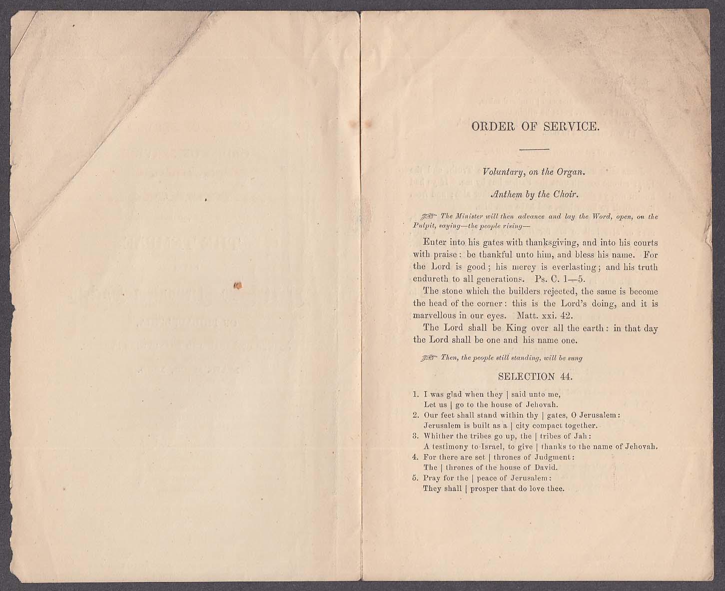 1st New Jerusalem Society of Philadelphia Dedication Service Program 1860