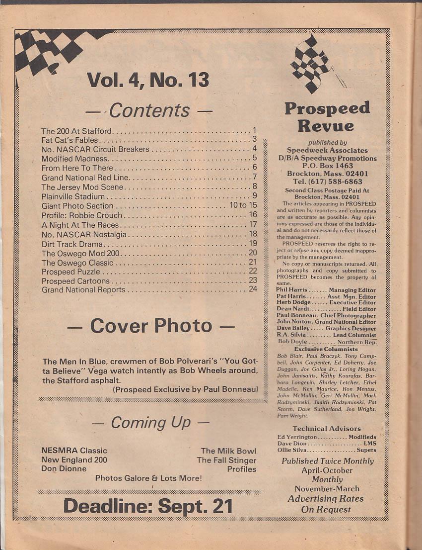 SPEEDWEEK PROSPEED REVIEW NASCAR Modifieds 9-10 1976 Stafford 200 Oswego Mod