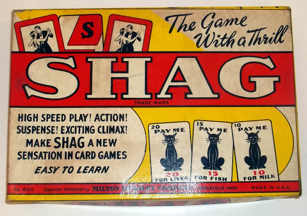 Milton Bradley Card Game SHAG unused 1937 cat motif