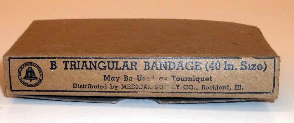"""Bell Telephone marked B Triangular Bandage 40"""" size Medical Supply Co unused"""
