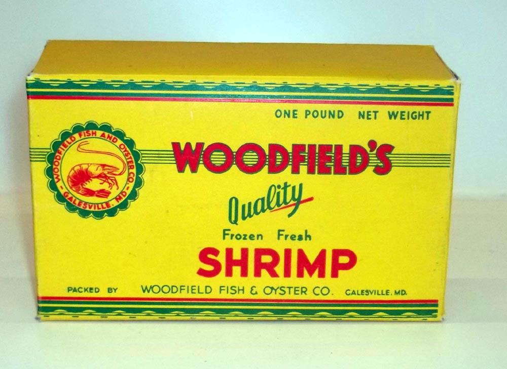 Woodfield's Quality Frozen Fresh Shrimp cardboard carton EMPTY Galesvile MD