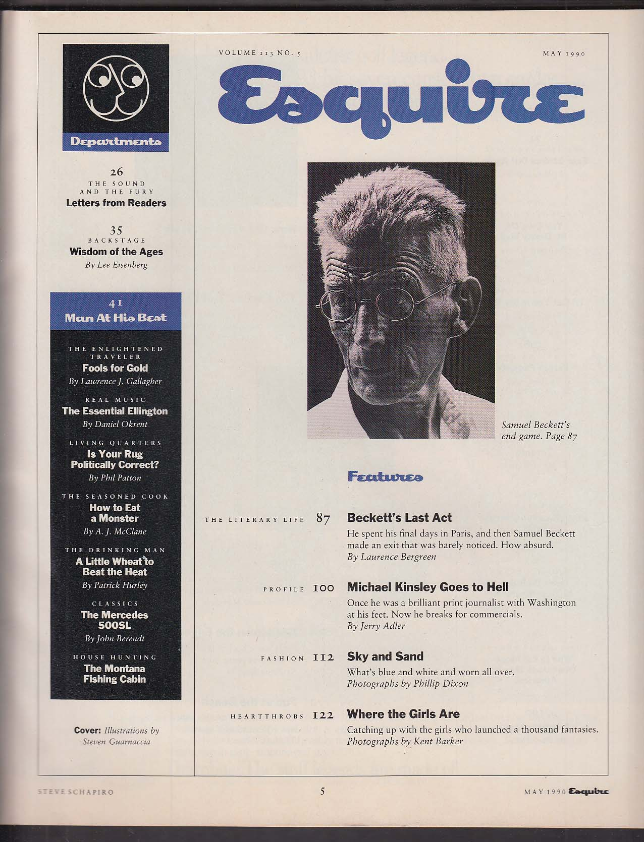ESQUIRE Warren Beatty Samuel Beckett Michael Kinsley Mark Spitz ++ 5 1990