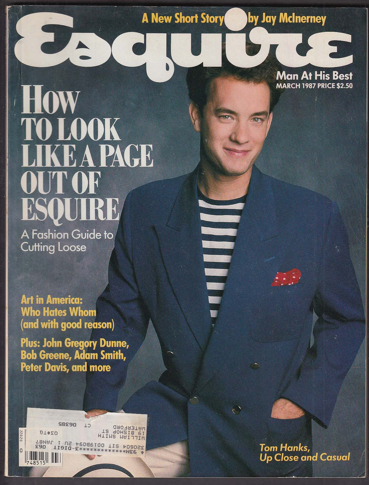 ESQUIRE Tom Hanks John Gregory Dunne Jay McInerney 3 1987