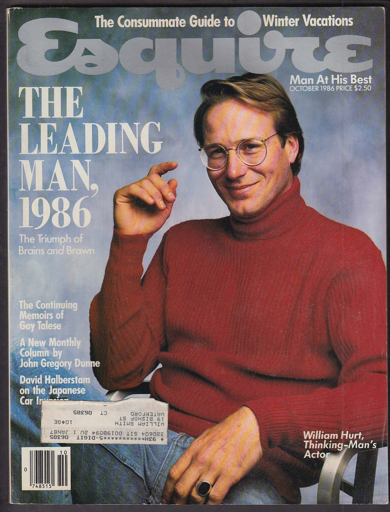 ESQUIRE William Hurt Gay Talese John Gregory Dunne ++ 10 1986