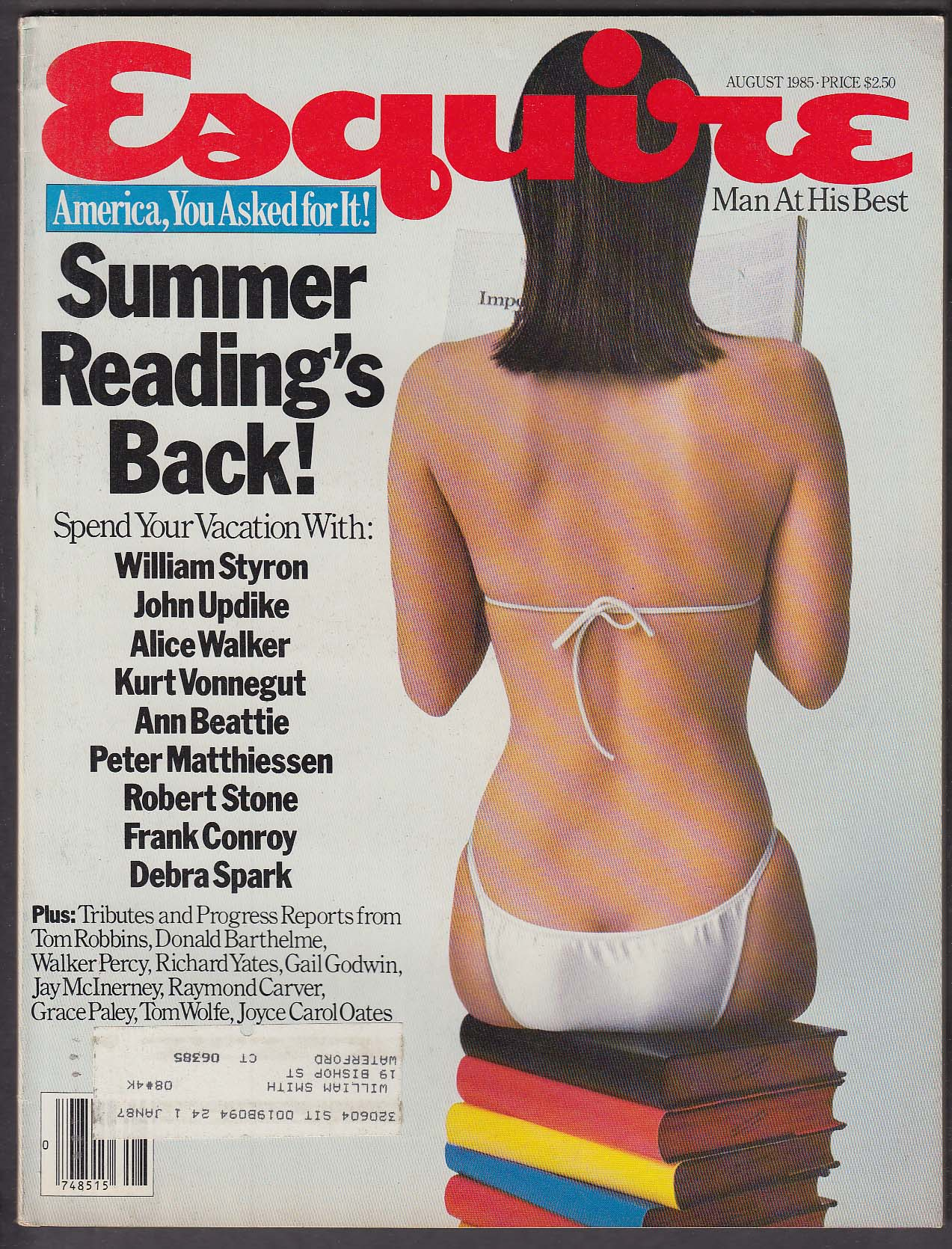 ESQUIRE William Styron John Updike Kurt Vonnegut Tom Wolfe ++ 8 1985