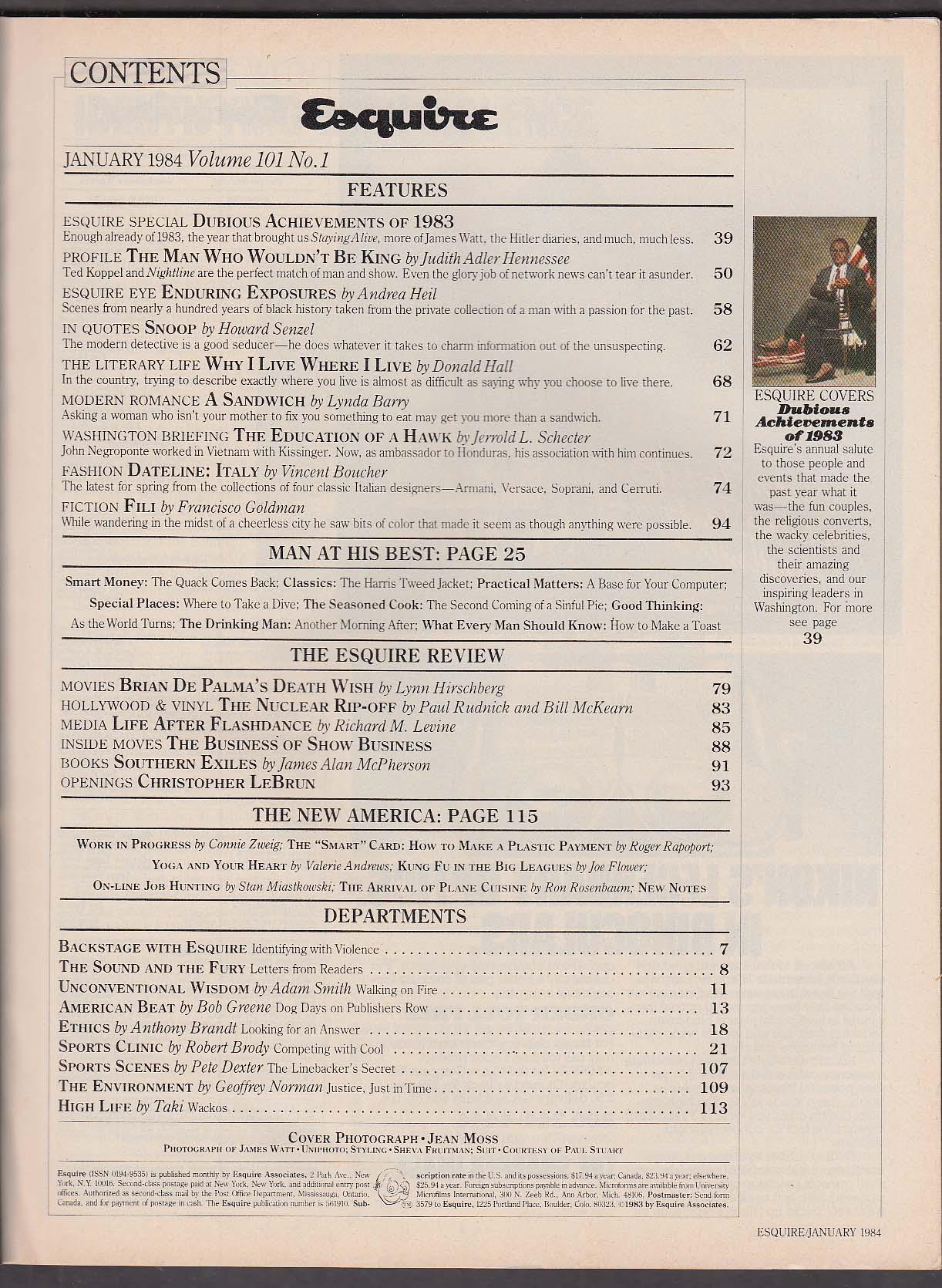 ESQUIRE James G Watt Brian De Palma Ted Koppel ++ 1 1984