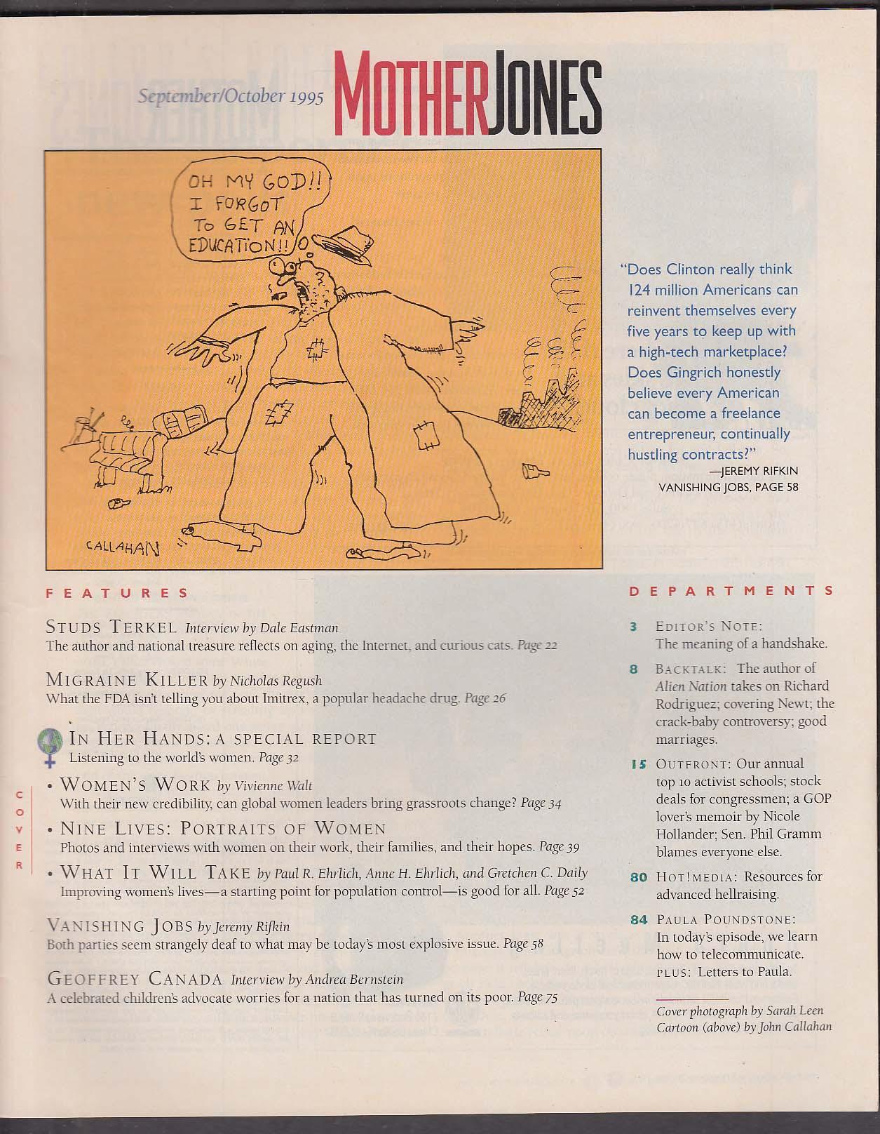 MOTHER JONES Studs Terkel Newt Gingrich Phil Gramm Paula Poundstone ++ 9-10 1995