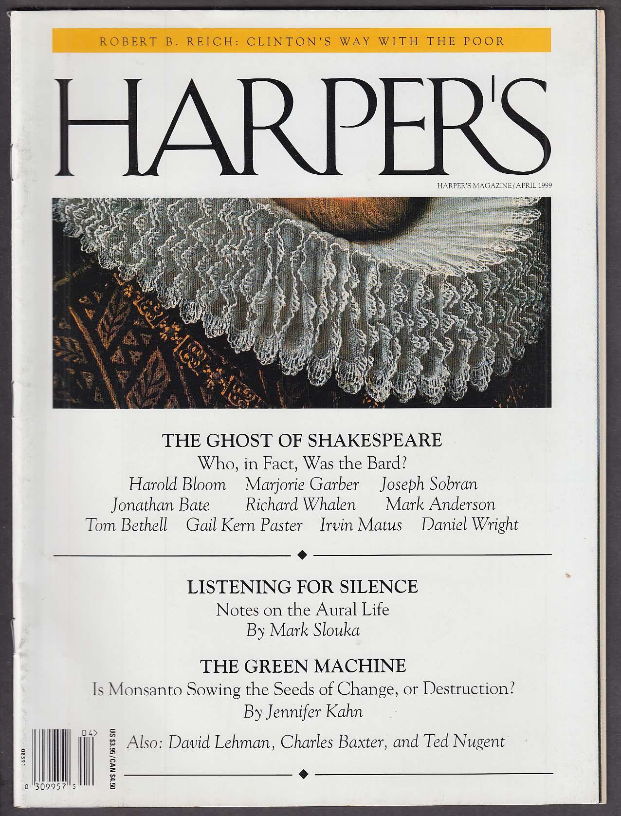 HARPER'S Robert B Reich Clinton William Shakespeare Monsanto Ted Nugent + 4 1999