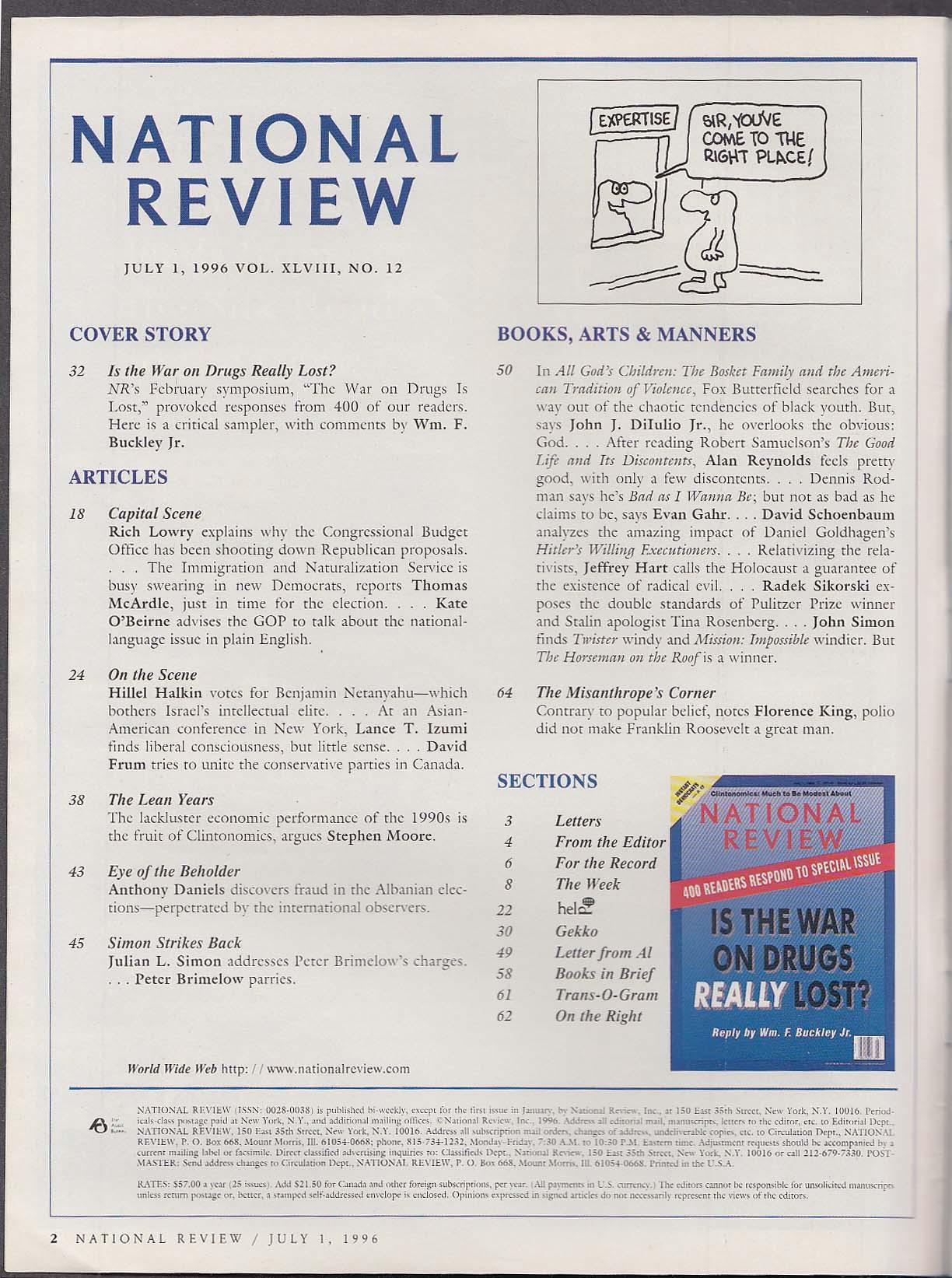 NATIONAL REVIEW William F Buckley Jr War on Drugs Clintonomics ++ 7/1 1996