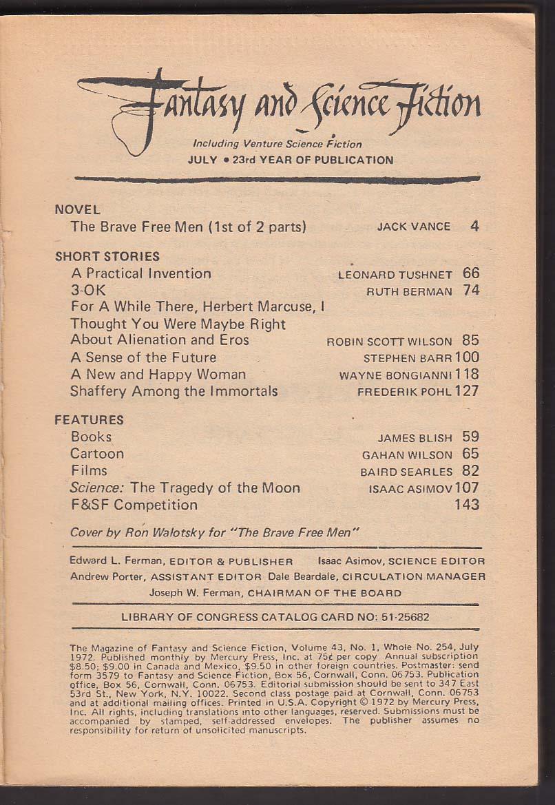 FANTASY & SCIENCE FICTION Jack Vance Frederik Pohl Gahan Wilson Asimov ++ 7 1972