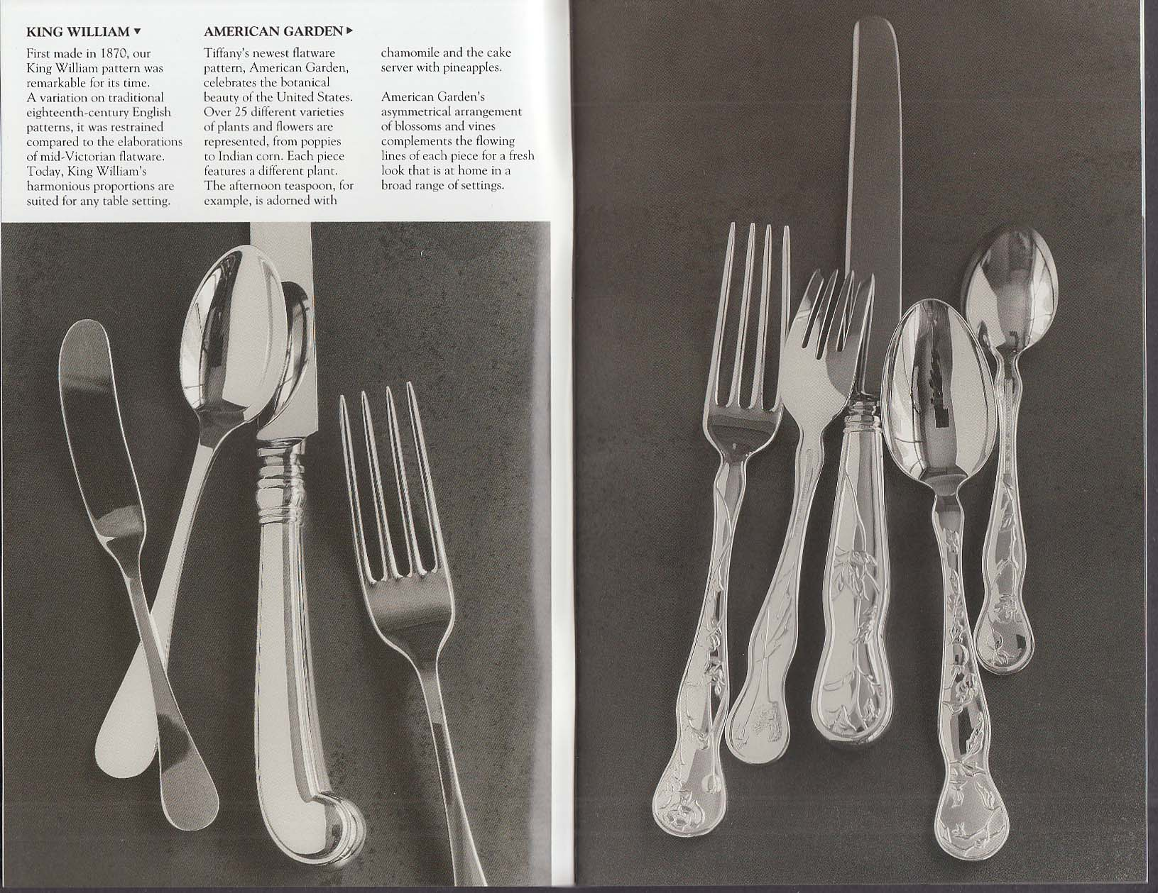 Tiffany & Co Sterling Silver Flatware catalog 1992