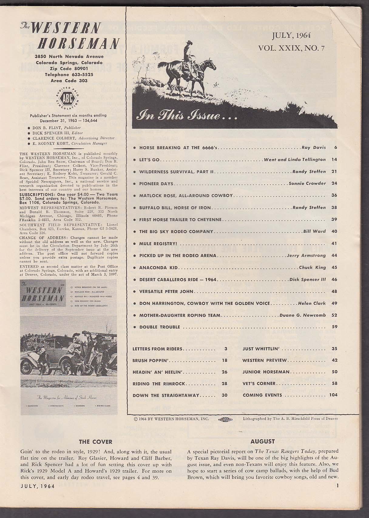 WESTERN HORSEMAN Matlock Rose Buffalo Bill Desert Caballeros 7 1964
