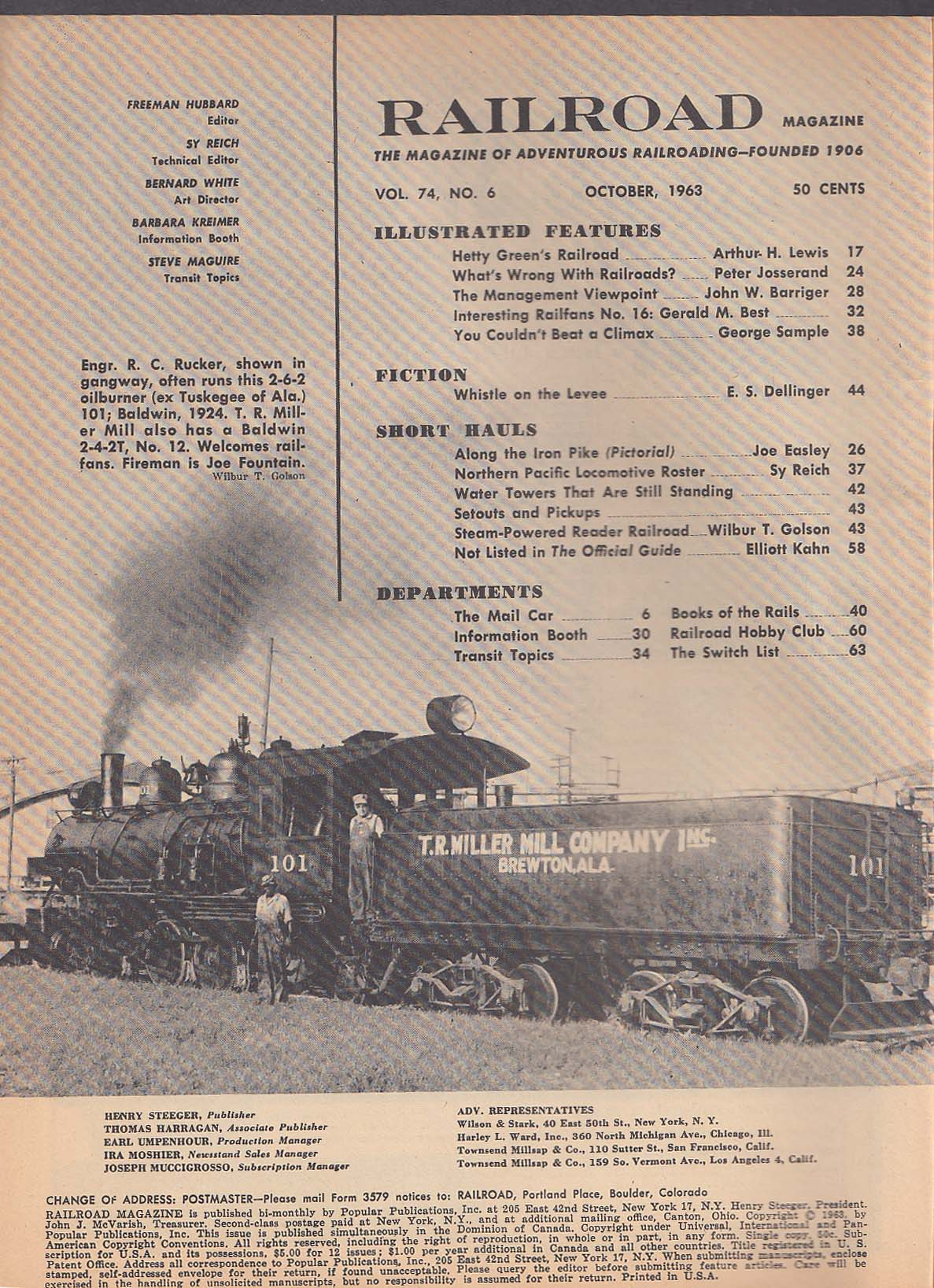RAILROAD Hetty Green Burlington 4-8-4 Gerald M Best ++ 10 1963