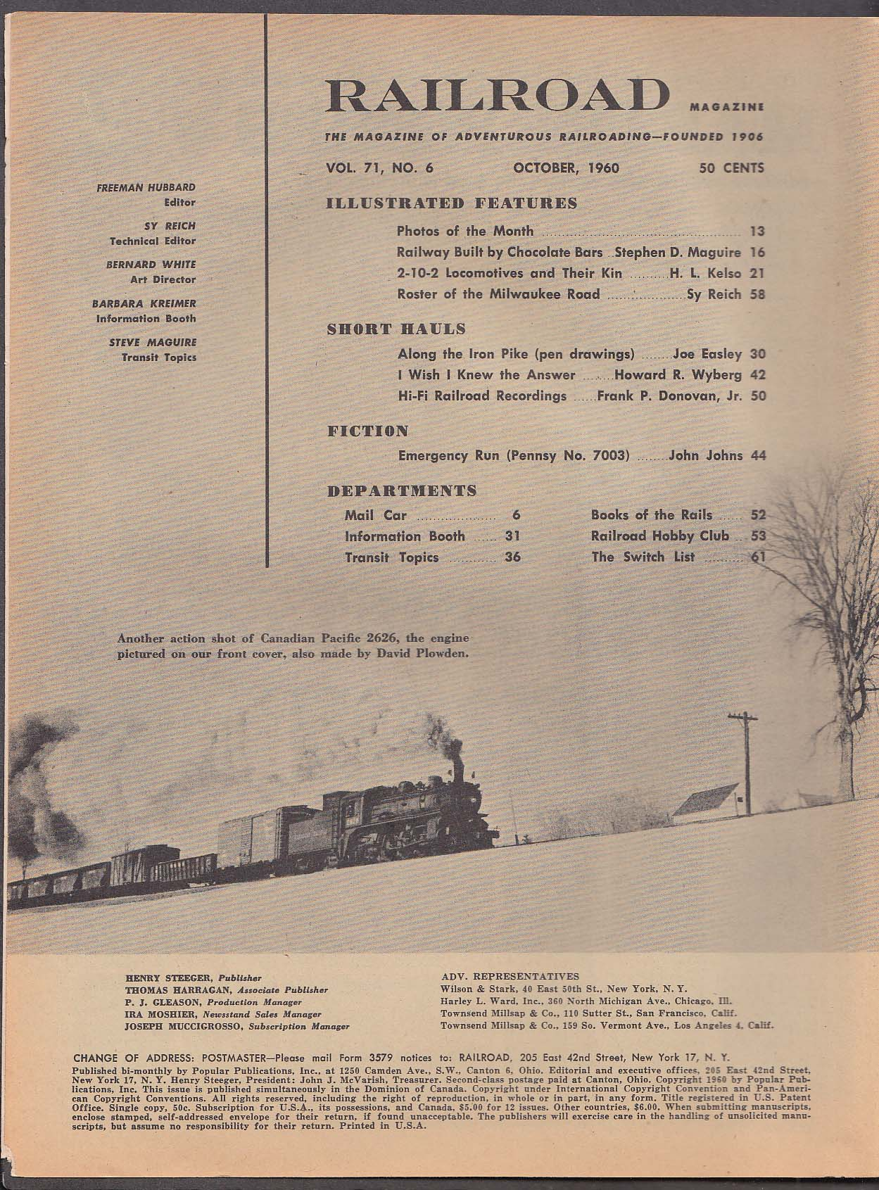 RAILROAD Stephen D Maguire 2-10-2 Locomotives Pennsy 7003 Hershey Cuban 10 1960