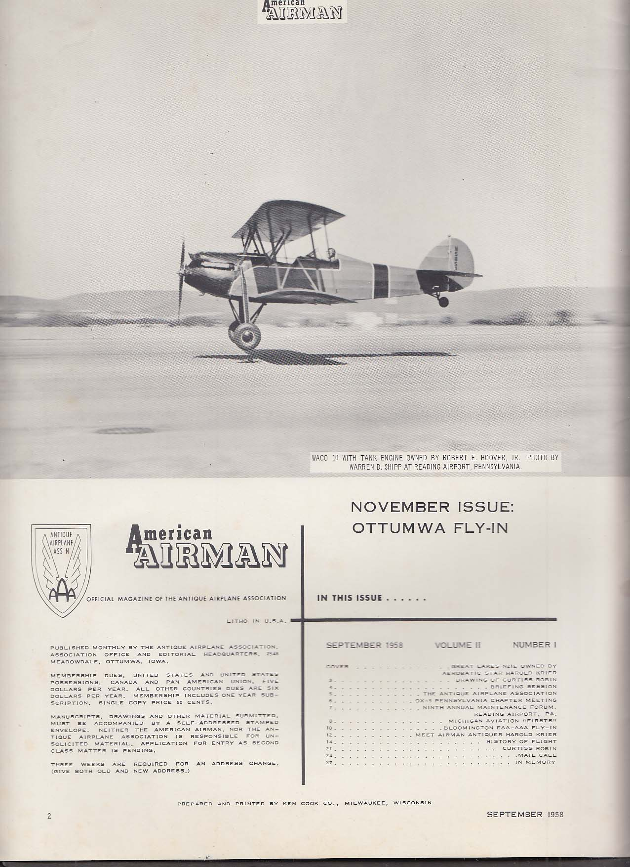 AMERICAN AIRMAN Great Lakes N21E Curtiss Robin OX-5 ++ 9 1958