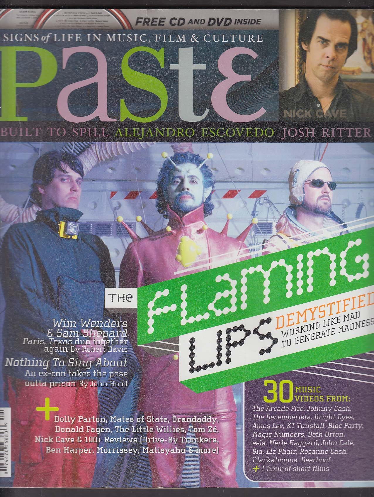 PASTE Flaming Lips Nick Cave Josh Ritter Win Wenders ++ 4-5 2006 + CD DVD