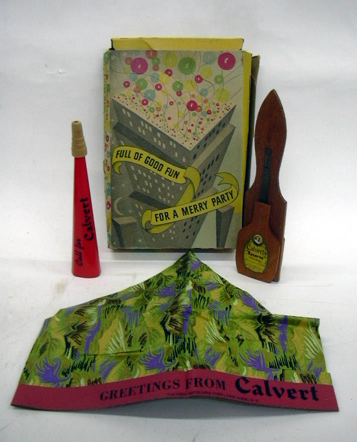 Calvert Whiskey Full of Good Fun for a Party hat, horn & noisemaker ca 1940s