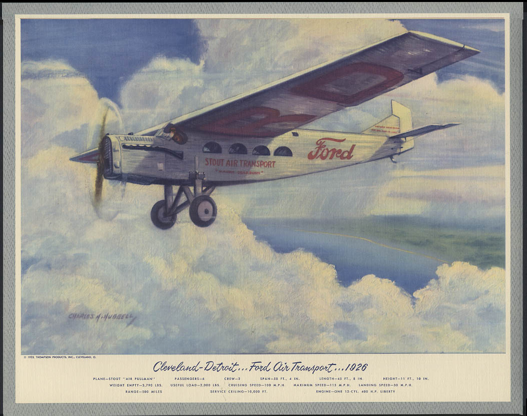 Ford Air Transport Syout Air Pullman Cleveland-Detroit Hubbell print 1926 1953