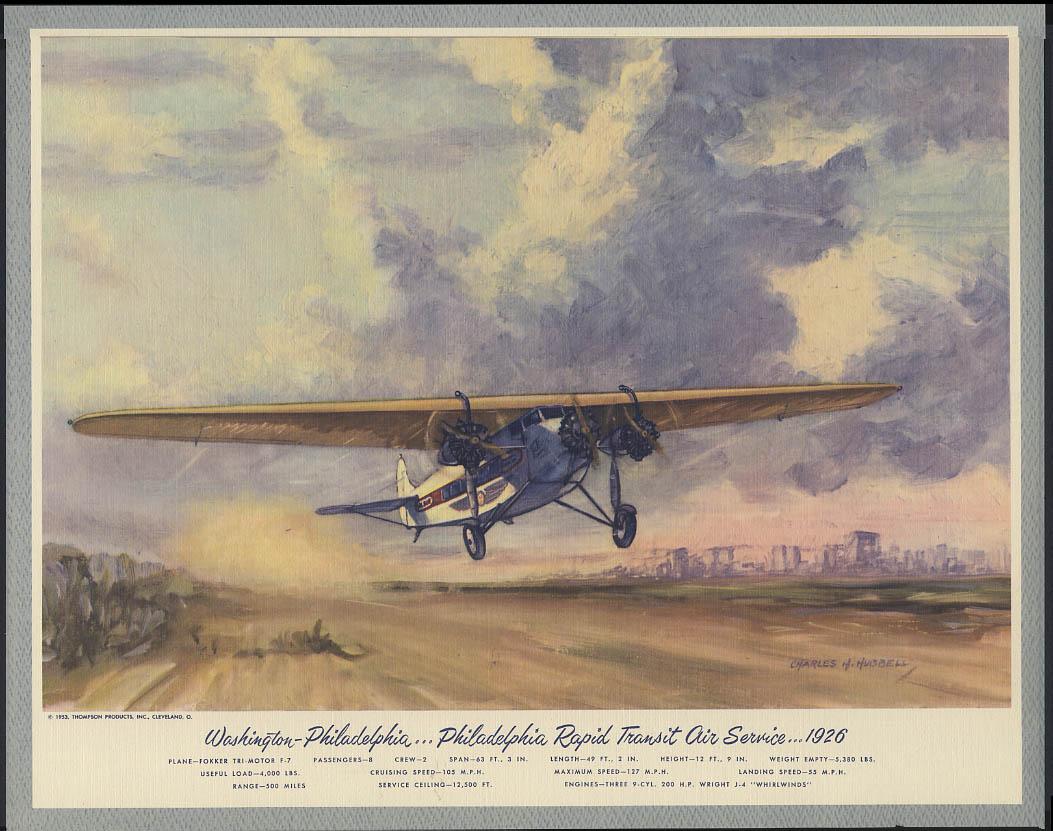 Philadelphia Rapid Transit Air Service Fokker Tri-Motor Hubbell print 1926 1953