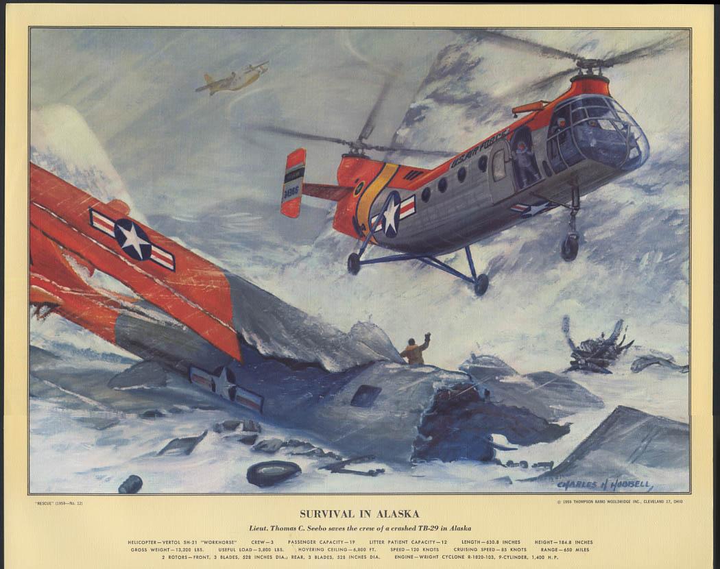 Survival in Alaska USAF Vertol SH-21 Workhorse TB-29 crash Hubbell Print 1959