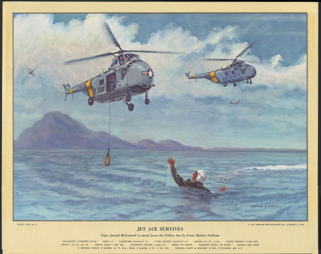 Jet Ace Survives Sikorsky H-19A Yellow Sea Korean War Hubbell Print 1959