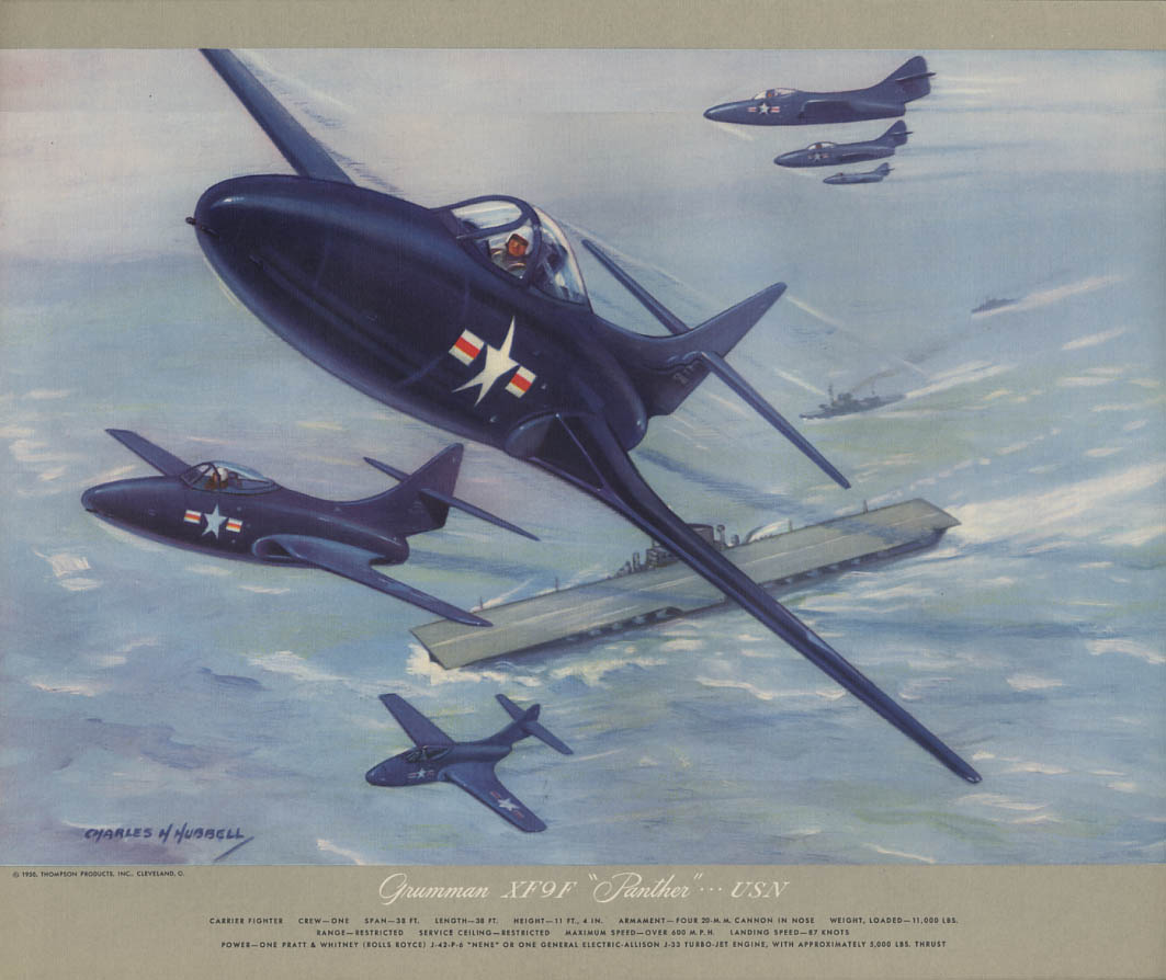 US Navy Grumman XF9F Panther Carrier Fighter Hubbell Print 1950