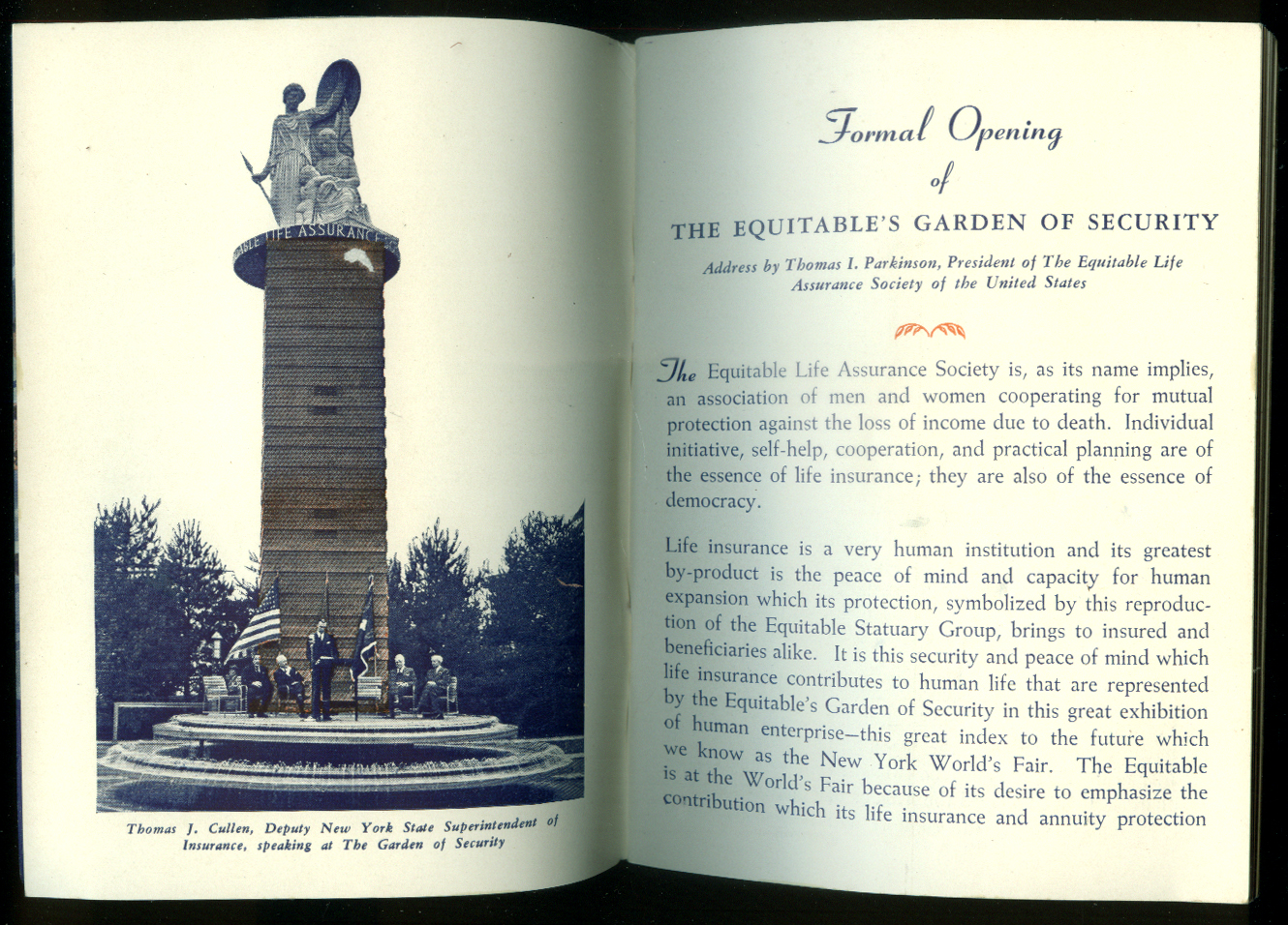 Equitable Life Assurance Guide to New York & World's Fair 1940
