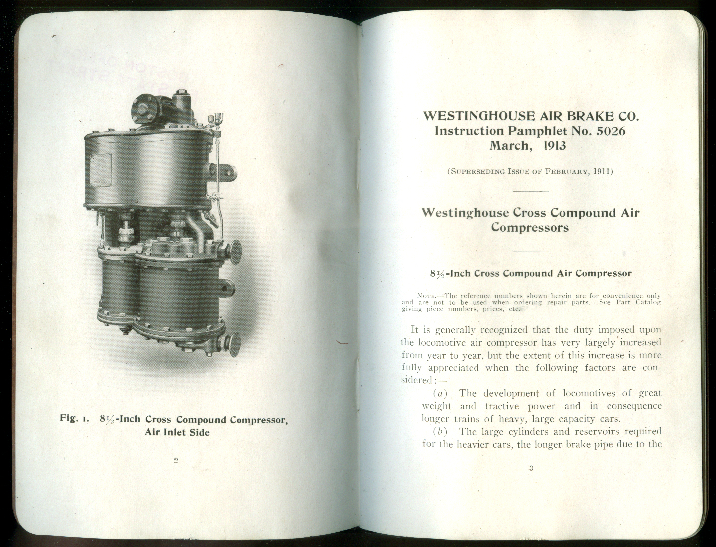 Westinghouse Cross Compound Air Compressors Instruction Pamphlet 1913