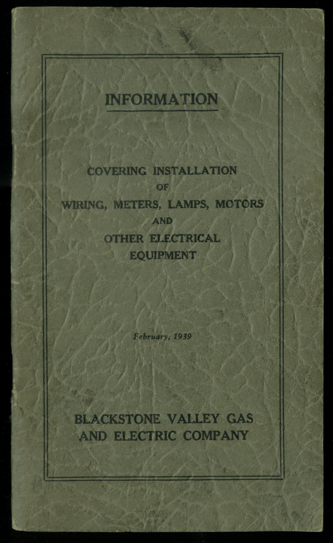 Blackstone Valley Gas & Electric Electrical Equipment Installation Info 1939 RI