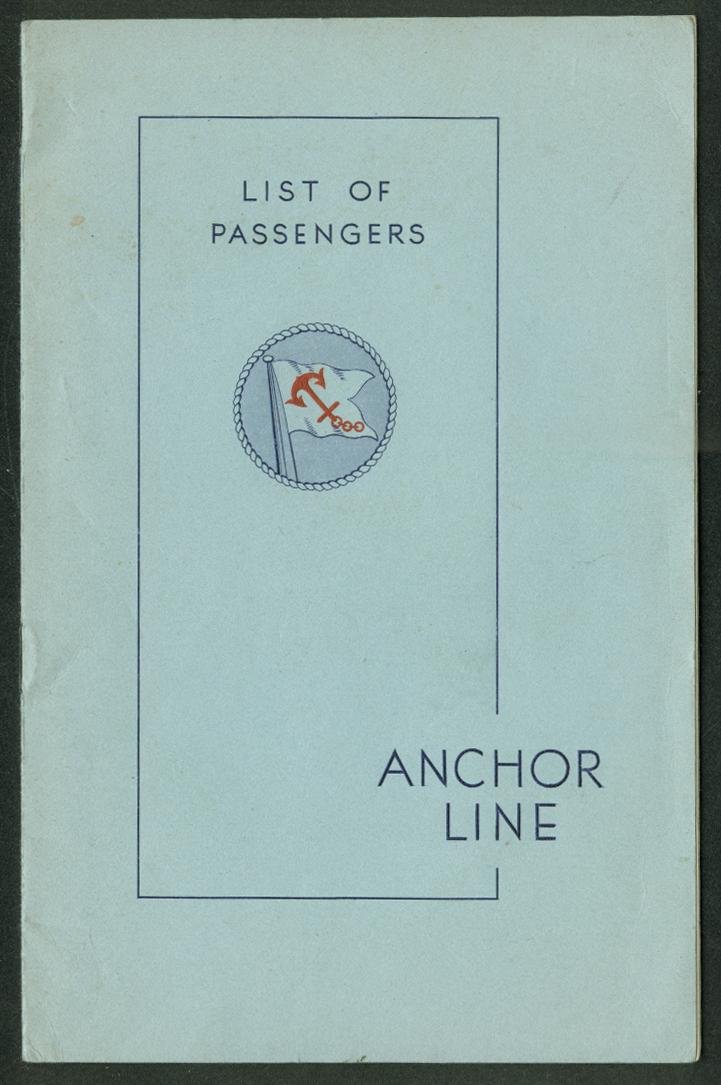 Anchor Line T S S Caledonia Passenger List NY-Boston-Belfast-Glasgow 6/27 1939