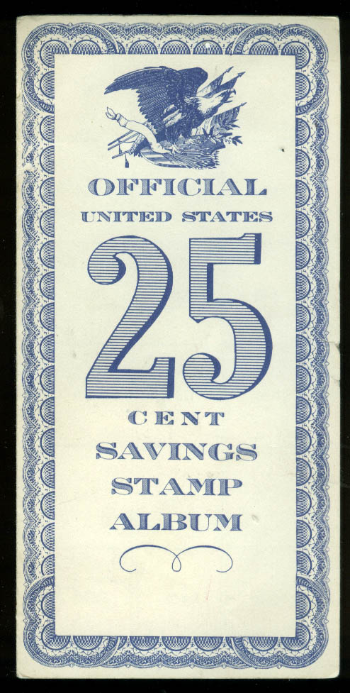 Official United States 25 Cent Savings Bond Stamp Album 1959 w/ 3 stamps