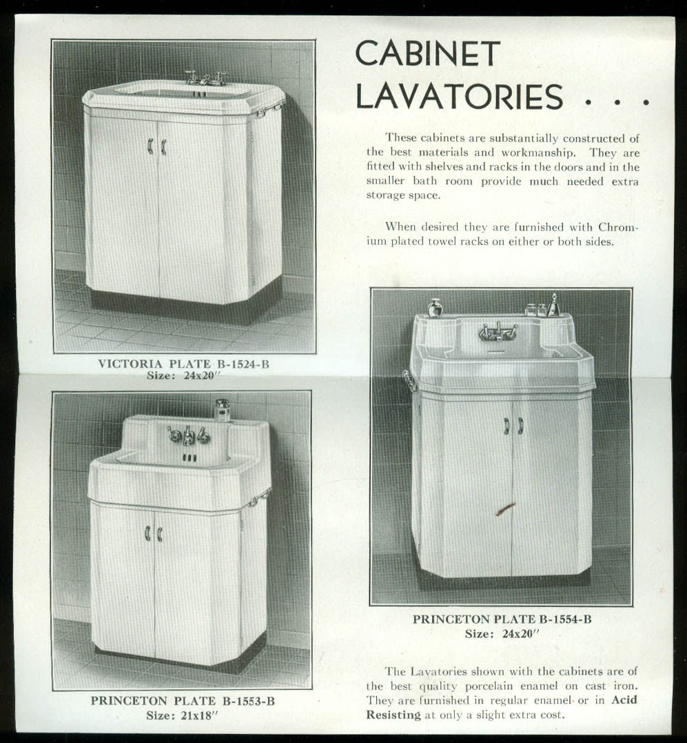 Eljer Cabinet Lavatories sales folder Ford City PA 1938