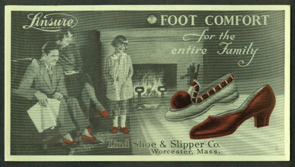 Lind Shoe & Slipper Linsure Foot Comfort for the Family blotter 1940s Worcester
