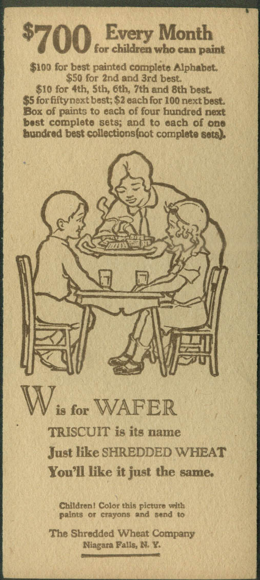 Nabisco Shredded Wheat Painted Alphabet Contest Card W is for Wafer 1929
