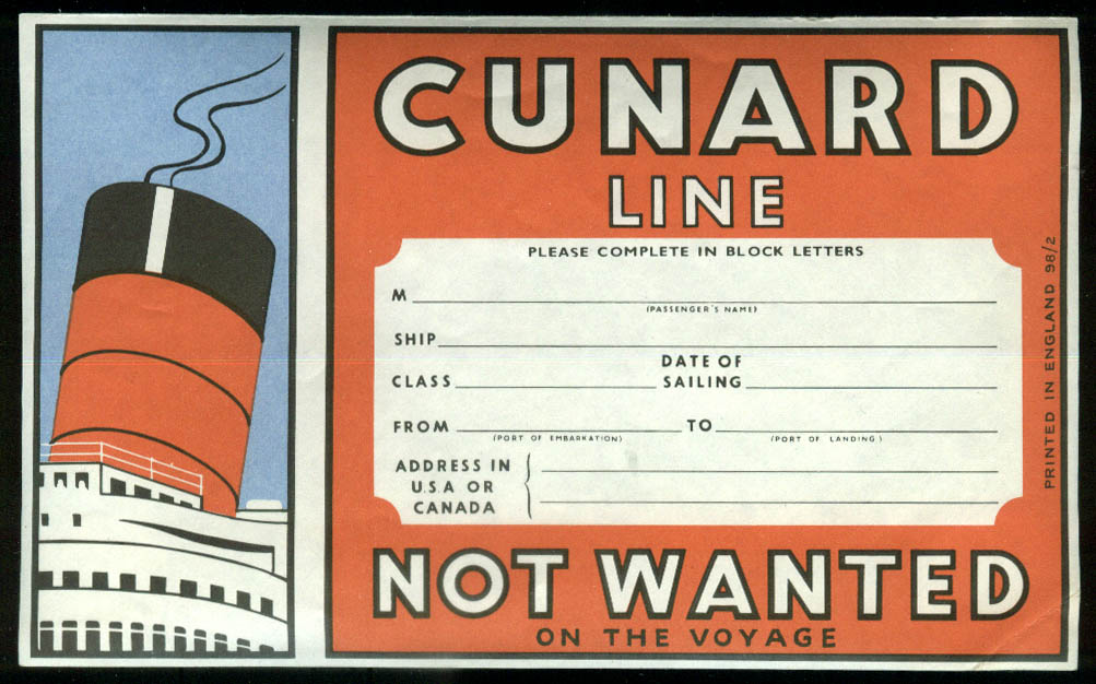 Cunard Line Not Wanted on Voyage baggage label unused 1950s