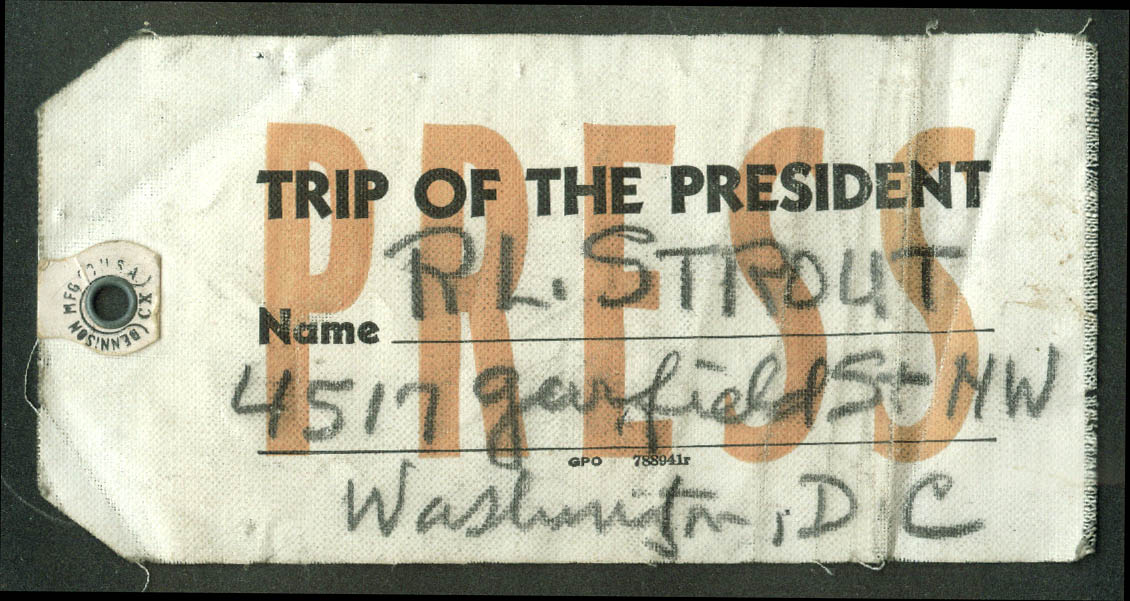 FDR Trip of the President Press Pass Tag c 1940 Strout Christian Science Monitor