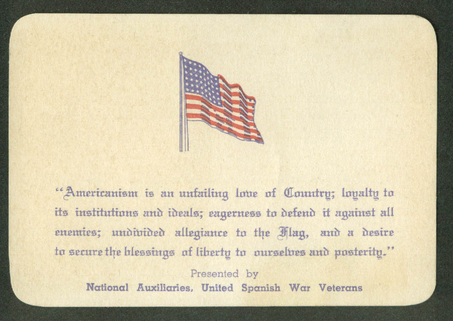 United Spanish War Veterans Auxiliaries Americanism is … card 1927