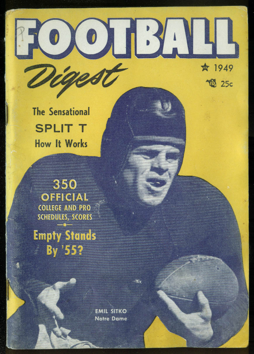 FOOTBALL DIGEST 1949 Baugh Luckman Carideo Wilfrid Smith on Split T