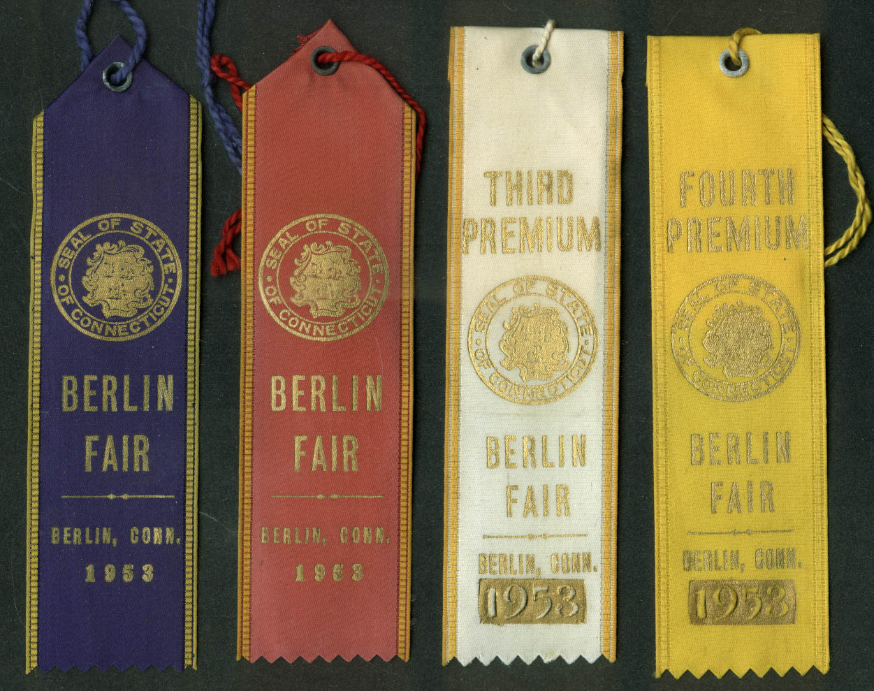 Berlin Connecticut Fair set of prize ribbons 1953 poultry cattle livestock +