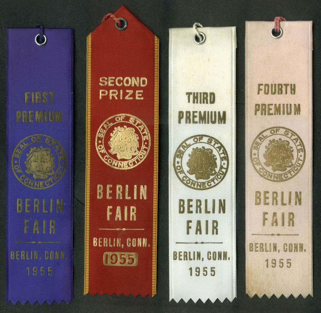 Berlin Connecticut Fair set of prize ribbons 1955 poultry cattle livestock +