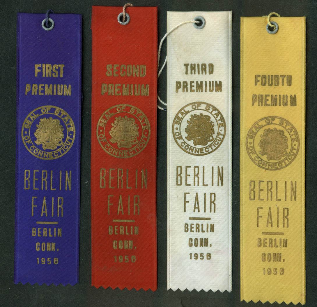 Berlin Connecticut Fair set of prize ribbons 1956 poultry cattle livestock +