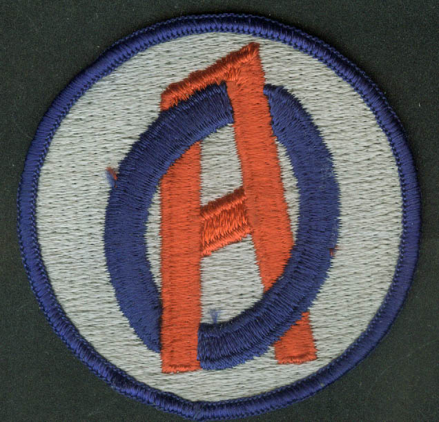 "OA or AO transit embroidered cloth patch 2 7/8"" diameter"