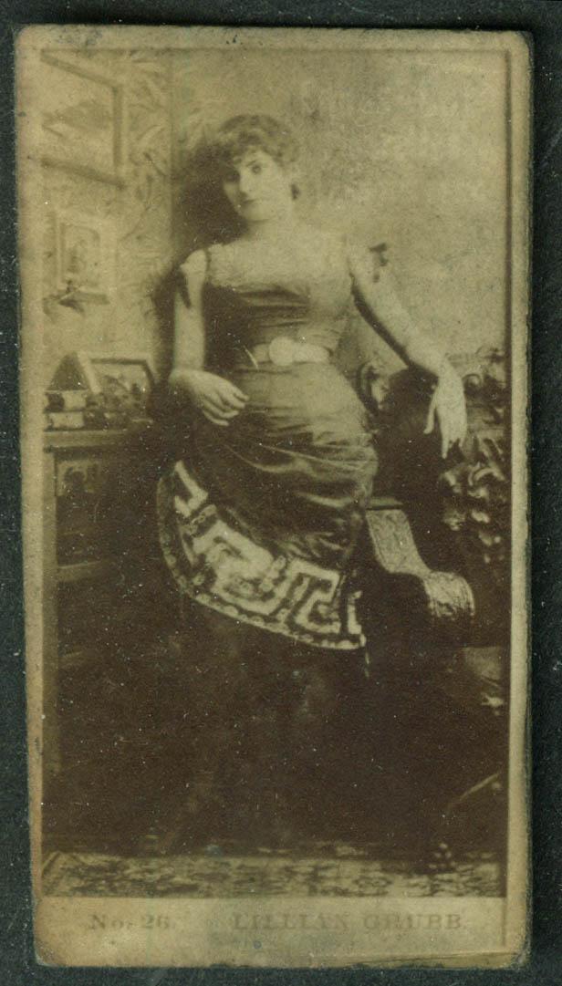 Cross Cut Cigarette theatre actress card N145 1880s Miss Lillian Grubb #26