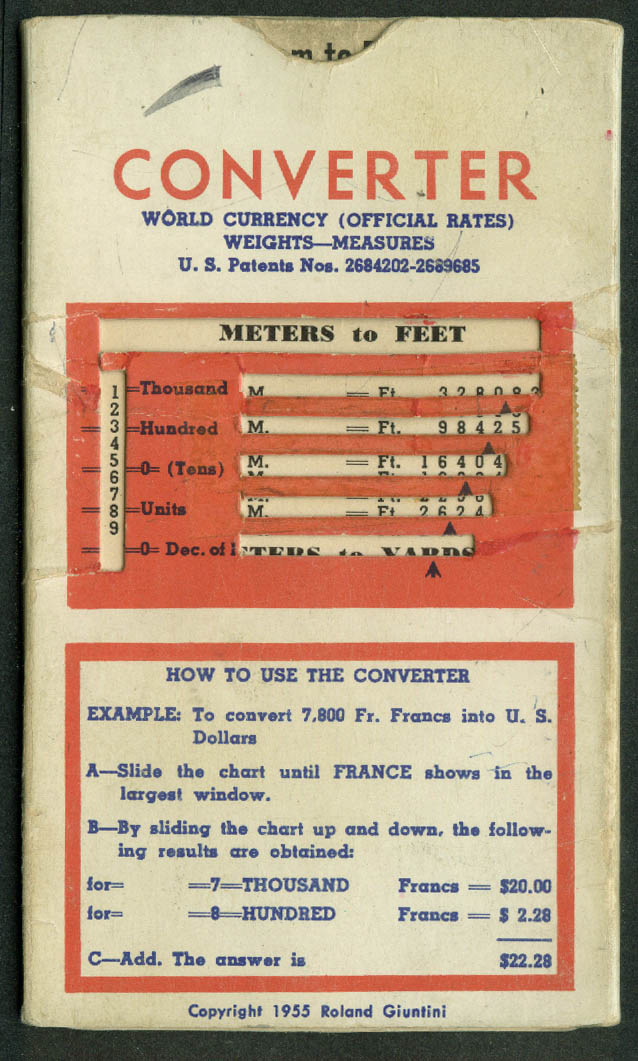 Air France World Currency Converter 1955 airline