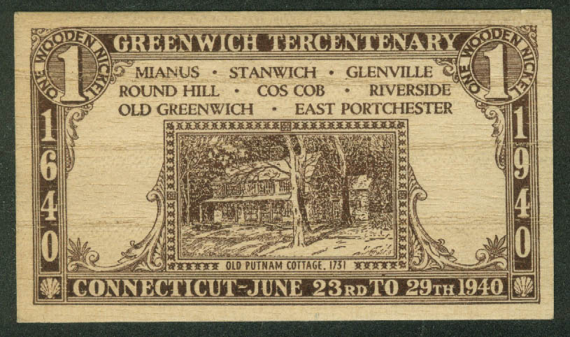 Greenwich Tercentenary Wooden Nickel 1940 Connecticut