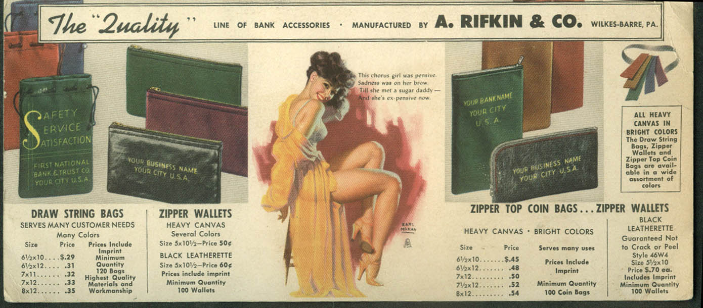 A Rifkin Bank Accessories postcard Earl Moran pin-up ca 1950s Wilkes-Barre PA