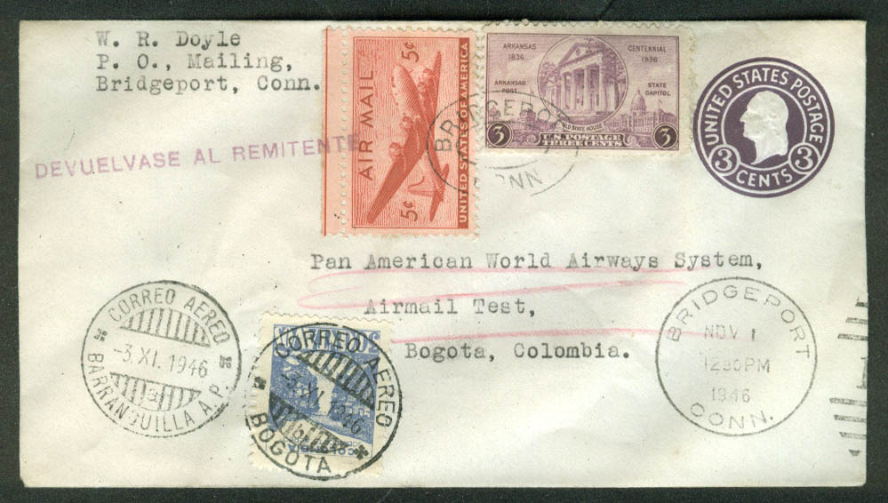Pan American World Airways Airmail Test postal cover Bogota Colombia 1946