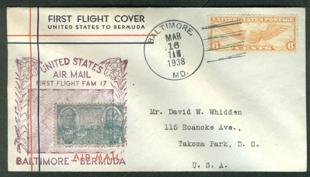 United States Baltimore-Bermuda First Flight Air Mail Cover 1938